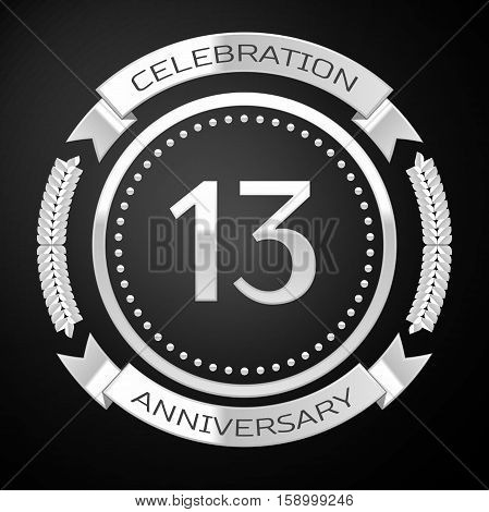 Thirteen years anniversary celebration with silver ring and ribbon on black background. Vector illustration