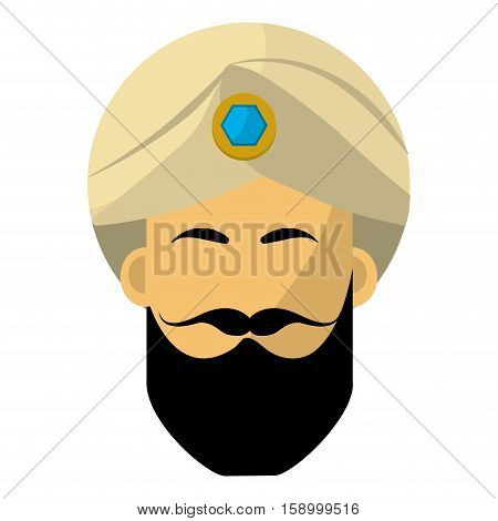 Indian man with turbant icon vector illustration graphic design
