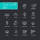 Esports - vector simple thin line design icons and pictograms set - black background. News, registration, parties, guides, training, transfer, earnings, competitions, champion bookmakers sponsors poster