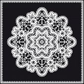 White lace circle ornament on black lace doily mandala round lacy decoration poster