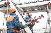worker installing falsework construction poster