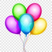 Vector colorful balloons, birthday decoration isolated on transparent background. Birthday balloon color, helium balloons flying illustration poster
