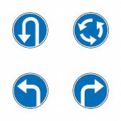 Vector set of arrow road mandatory blue round road signs, a U-Turn, turn right and left and roundabout - road sign isolated on white background in blue permissive circle. Vector illustration. poster