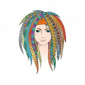 Colorful young girl with patterned zentangle dreadlocks. Ornate hairstyle. Vector illustration. poster