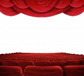 Classic cinema with red seats and curtains poster