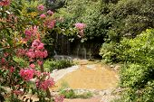 Beautiful chinese garden with waterfall in Guiling, China poster