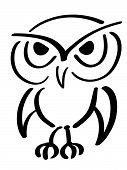 Eagle owl. Vector illustration. Black ink drawing poster