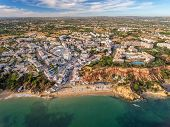 Aerial. Amazing view from the sky, town Olhos de Agua albufeira. Algarve Portugal. poster