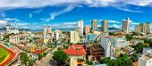 A view over Nha Trang city centre with a kaleidoscope of over saturated colours. poster