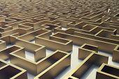 3d illustration gold labyrinth, complex problem solving concept poster