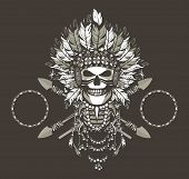 vector illustration of a dead Indian chief in a headdress of feathers and attributes of power Black background poster