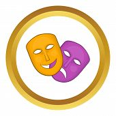 Comedy and tragedy theatrical masks vector icon in golden circle, cartoon style isolated on white background poster