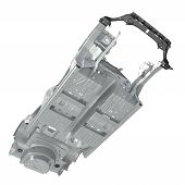 Bottom view Car Frame without Chassis on white background. 3D illustration poster