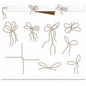 Set of tags and labels tied up with brown bakers twine bows and ribbons poster