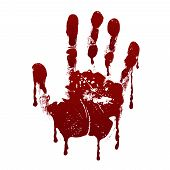 Bloody handprint. Horror dirty scary blood vector background. Hand print messy blood, illustration of handprint red blood poster