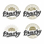 Set of Brewery hand written lettering logo, label, badge template with hop for beer house, bar, pub, brewing company, tavern. White background. Vintage style. Vector illustration. poster