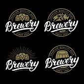 Set of Brewery hand written lettering logo, label, badge template with hop for beer house, bar, pub, brewing company, tavern, wine whiskey market. Black background. Vintage style. Vector illustration. poster