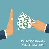 Rejection money concept. Businessman holding money in hand offering bribe. Hand gesture rejecting the proposal. Violation of the law corruption. Refuse cash. Vector illustration flat design. poster