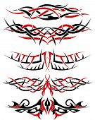 Black with red patterns of tribal tattoo for design use poster