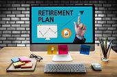 RETIREMENT PLAN Savings Senior Investment Retirement Plan Pension Retirement Aspirations and financial planning Senior couple signing financial to RETIREMENT PLAN save bank retirement plan poster