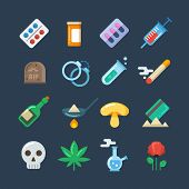 Illegal drug tablets, alcohol addiction, methamphetamine abuse vector flat icons. Set of drugs heroin and smoking, illustration of hallucinogenic mushroom and collection of drug poster
