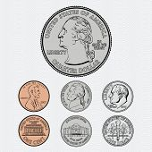 Vector Coins - Quarter, Dime, Nickel and Penny poster