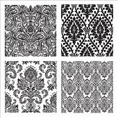 Set of detailed repeating damask patterns. Easy to change colors. poster