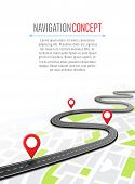 Navigation concept with pin pointer vector illustration. Cartography mapping, ui pinning, discovery, geotag, tourism geolocation. GPS navigation system banner. Location pin on perspective city map. Abstract navigation concept. poster