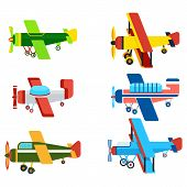 Vintage airplanes cartoon models. Retro motor aircraft with propeller icon. Colorful monoplane and biplane planes vector illustrations isolated on white background. poster