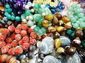 semiprecious beads made of geological minerals group poster