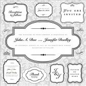 Set of vector ornate frames with sample text. Perfect as invitations or announcements. Background pattern is included as seamless swatch. All pieces are separate. Easy to change colors and edit. poster
