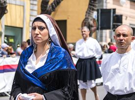 Cagliari Sardinia Italy - May 1 2014: Girl with the Sardinian typical costumes during the festival of Saint Efisio. Cagliari Sardinia Italy.