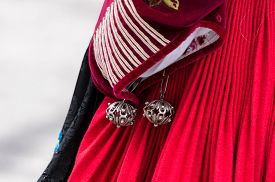 Traditional jewelry and costume details Sardinian isle