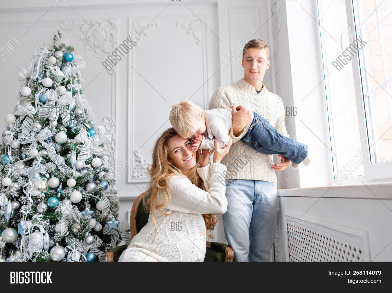 Happy Family Having Fun At Home. Christmas Morning In Bright Living Room. Young Parents  sc 1 th 194 & Happy Family Having Image \u0026 Photo (Free Trial) | Bigstock