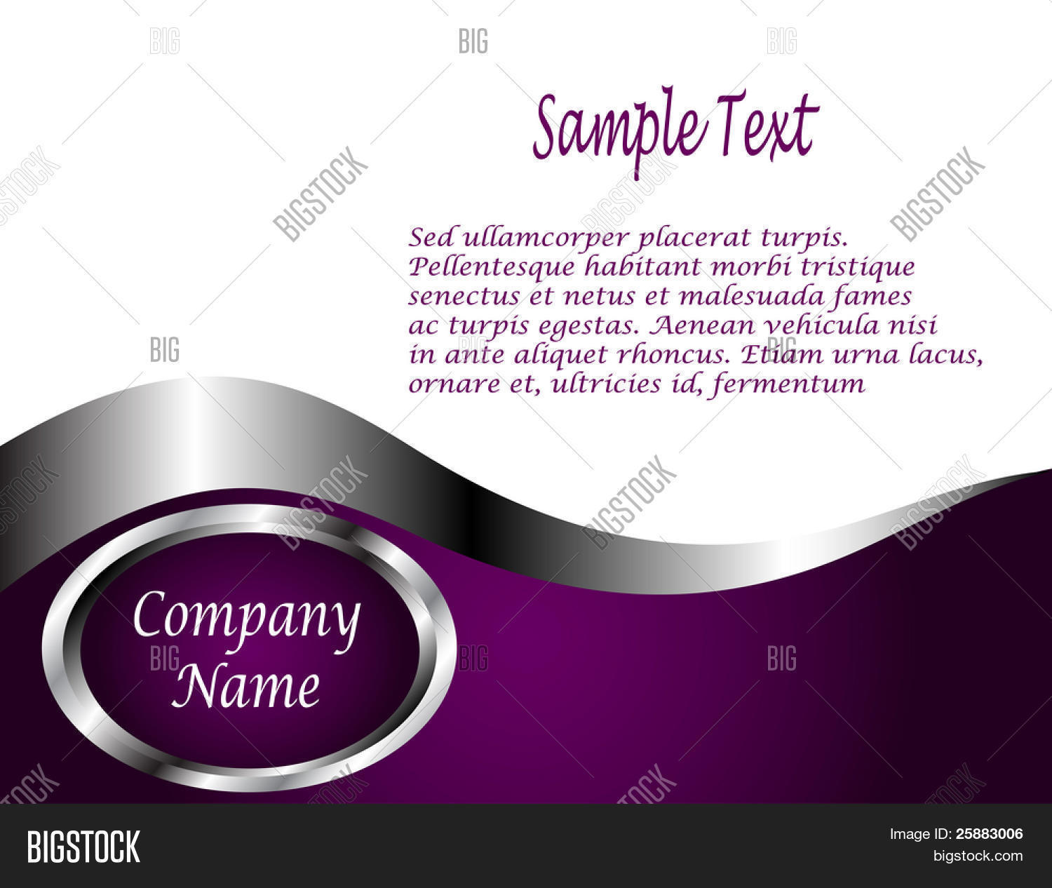 A Deep Purple Silver And White Vector Business Card Or Background Template
