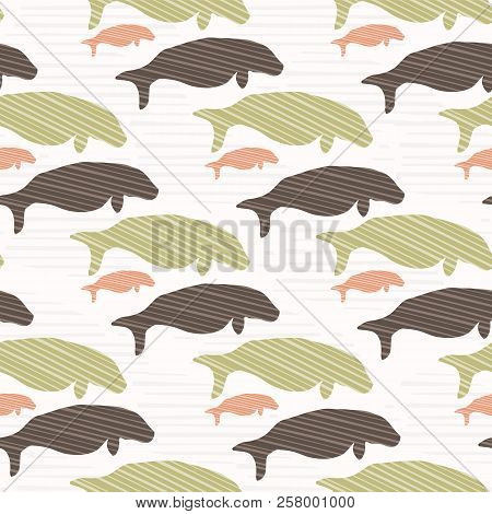 Brown And Green Seal Manatee Silhouette Wave
