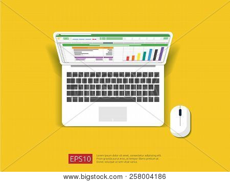 Business Item In Flat Style Workplace Design Concept. Top View Of Laptop With Spreadsheet On Screen.