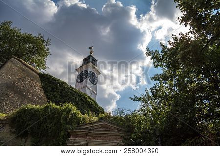 Clocktower Of The Petrovaradin Fortress In Novi Sad, Serbia. This Fortress Is One Of The Main Landma