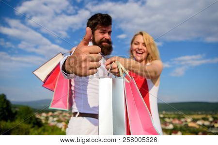 Advice To Buy Now. Happy Family Shoppers. Couple In Love Recommend Shopping Summer Sale Discount Sea