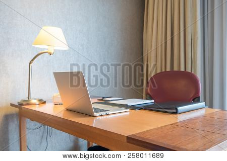 Computer Display And Office Tools On Desk In Home. Desktop Computer Screen Isolated. Modern Creative