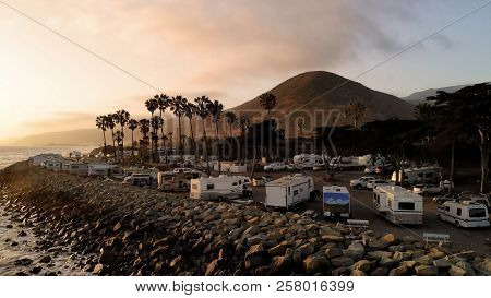 Rv Park (campground) At Coast, California. Ocean. California During Sunset. Aerial View, From Above,