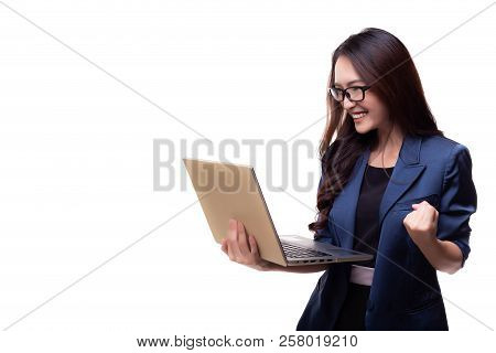Attractive Beautiful Businesswoman Get Successful Of Business. Charming Beautiful Woman Hold Laptop
