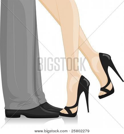 Illustration of a Couple at a Formal Event with the woman leaning in