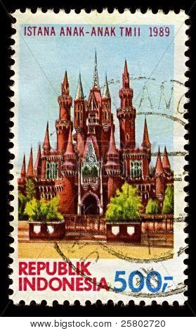 INDONESIA-CIRCA 1989:A stamp printed in Indonesia shows image of Istana Anak-anak Indonesia or Castle of Indonesian Children, the fairy tale castle and playground in Taman Mini Indonesia, circa 1989.