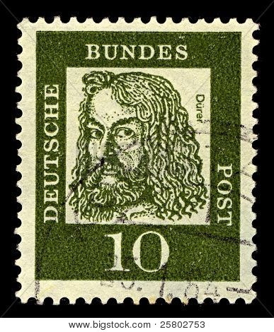 GERMANY-CIRCA 1961:A stamp printed in Germany shows image of Albrecht Durer was a German painter, printmaker, engraver, mathematician, and theorist from Nuremberg, circa 1961.