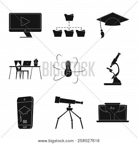 Vector Illustration Of Education And Learning Sign. Set Of Education And School Vector Icon For Stoc