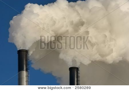 Coal Plant Emitting Pollution