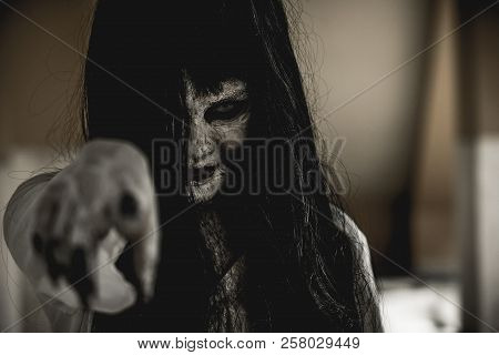 Halloween Or Horror Concept, Women Dressed In Costume Cosplay Horror Zombies Or Ghost On Halloween F