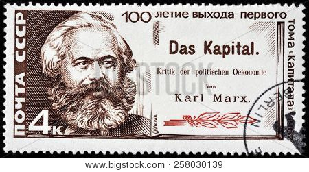 Luga, Russia - September 12, 2018: A Stamp Printed By Russia (ussr) Shows Karl Marx - German Philoso