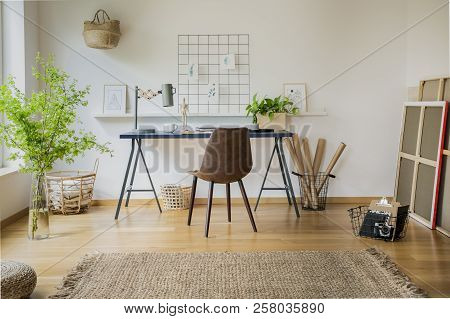 Real Photo Of Bright Home Office Interior With Carpet, Leather Chair By The Desk And Fresh Plants